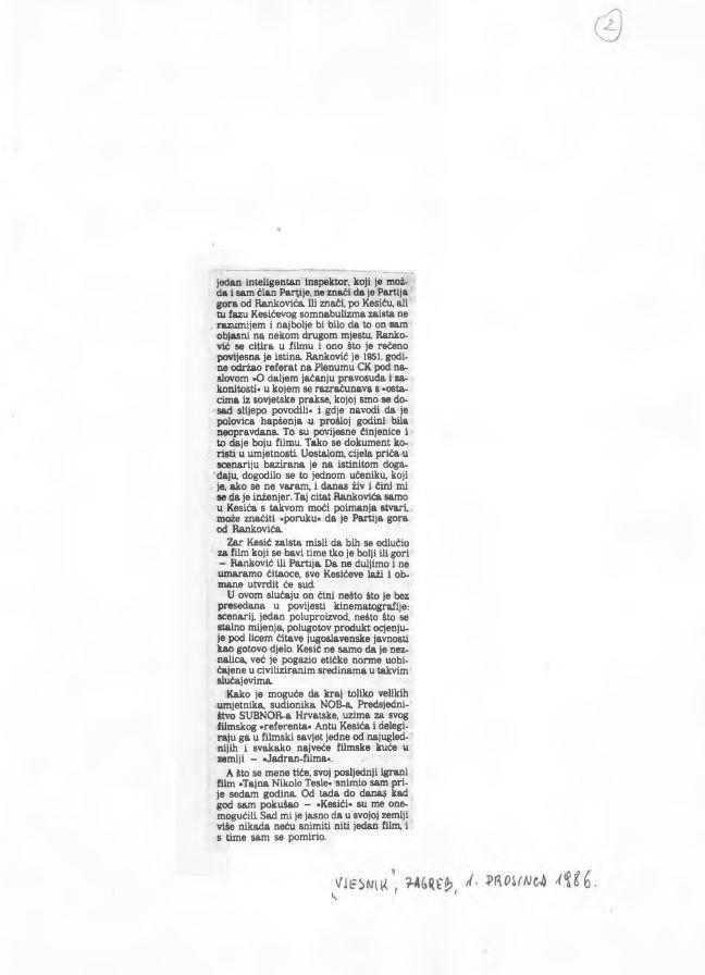 """Javna reakcija režisera Krste Papića na vijest o osporavanju scenarija filma """"Život sa stricem"""" (Vjesnik,  1. prosinca 1986.)."""
