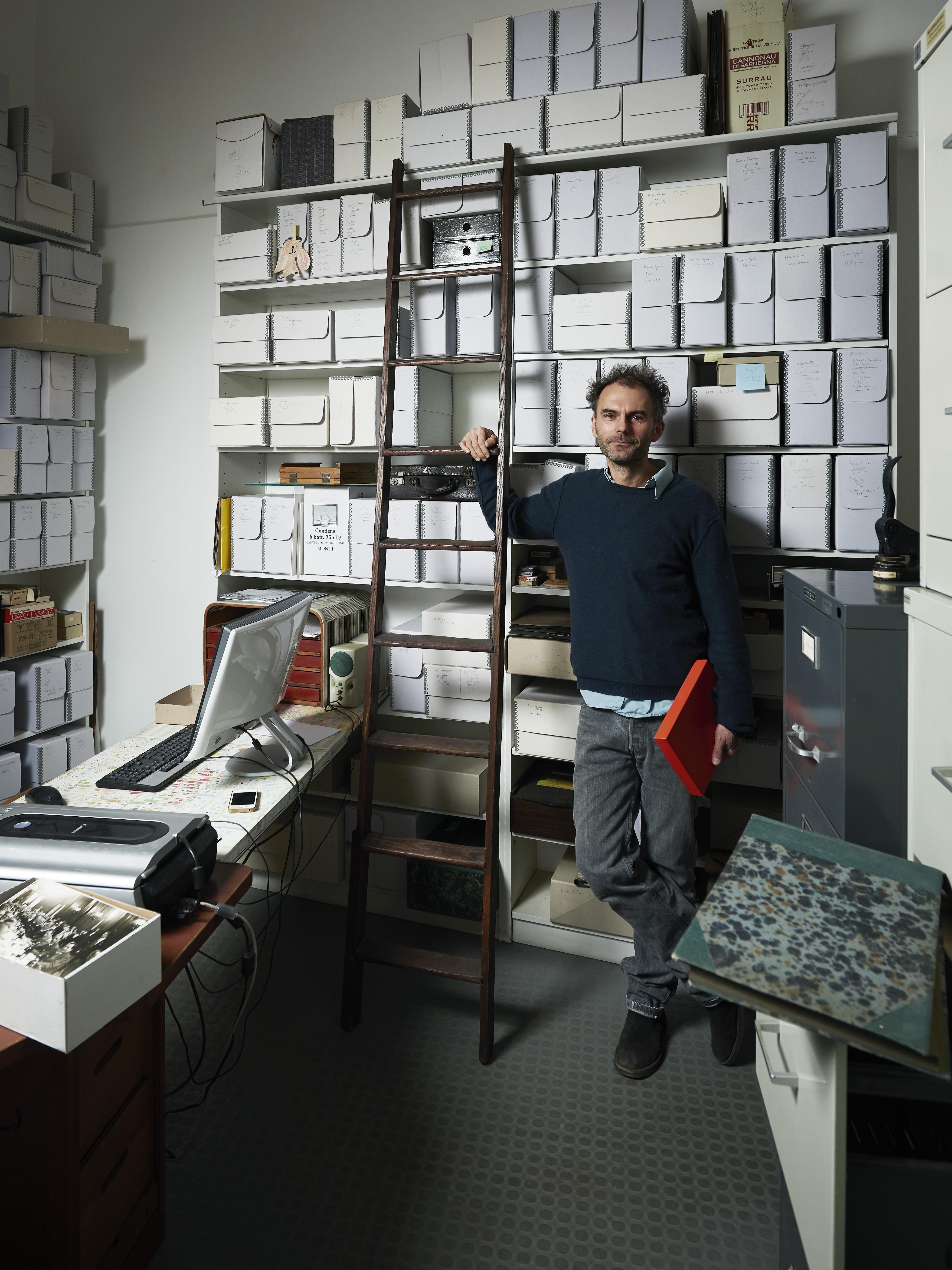 Miklós Tamási at the Fortepan Office