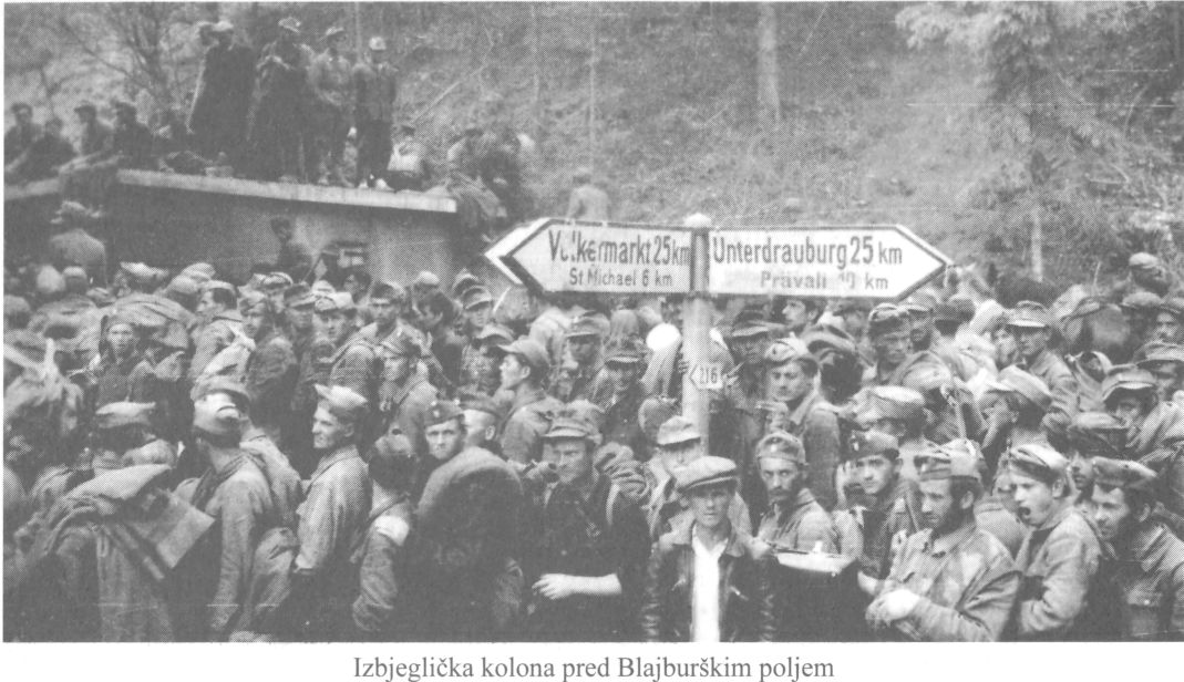 The refugee line before the Bleiburg field.