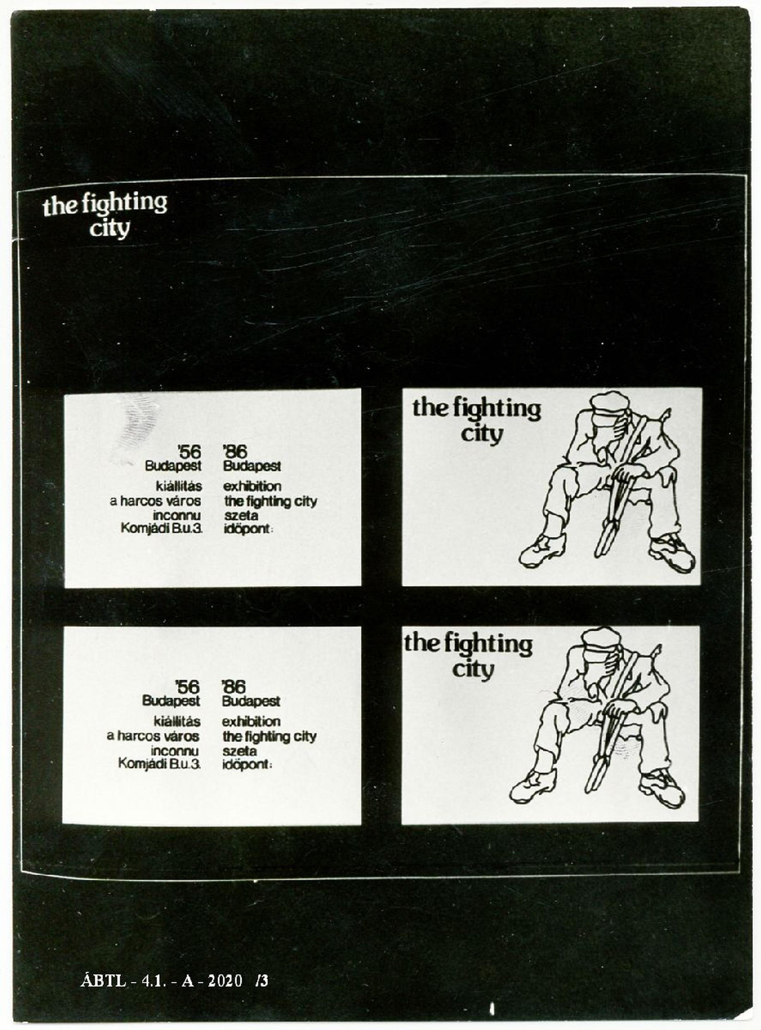 Az Inconnu 'A harcoló város/The Fighting City, 1986' című kiállításának röplapja