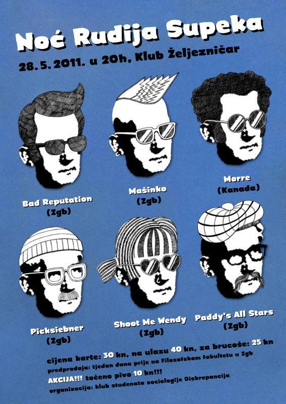 Plakat Brucošijade Odjseka za sociologiju Flozofskog fakulteta Sveučilišta u Zagrebu - Noć Rudija Supeka 2011.
