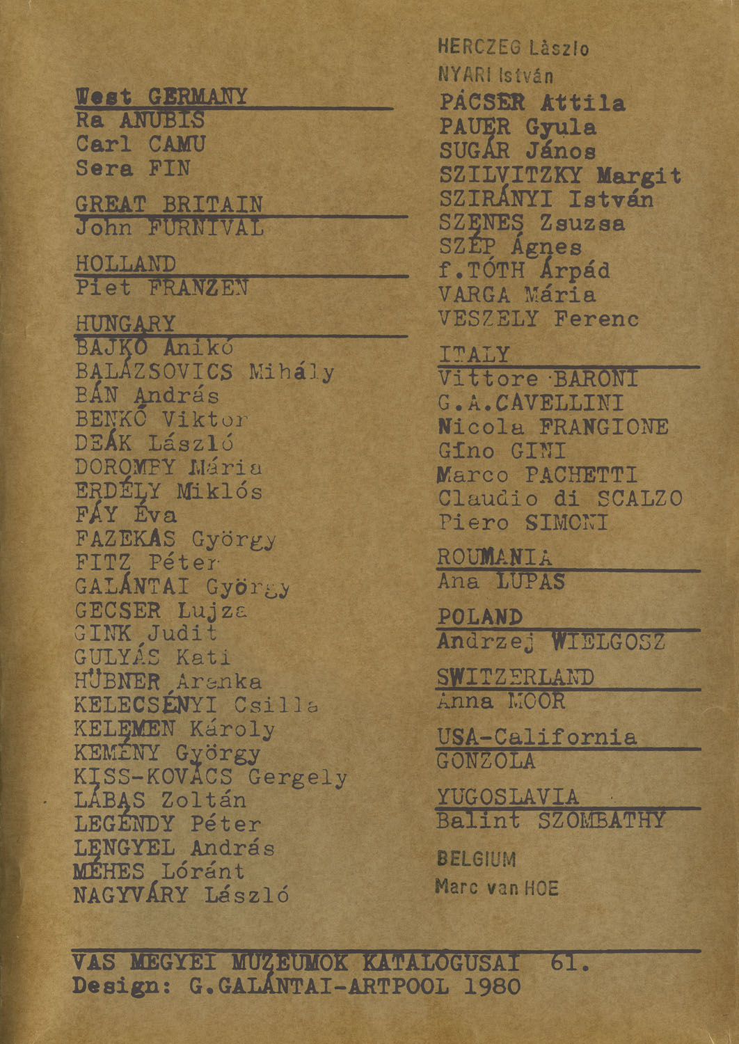 Silk screened back cover of the assembling TEXTILE WITHOUT TEXTILE with list of the participants