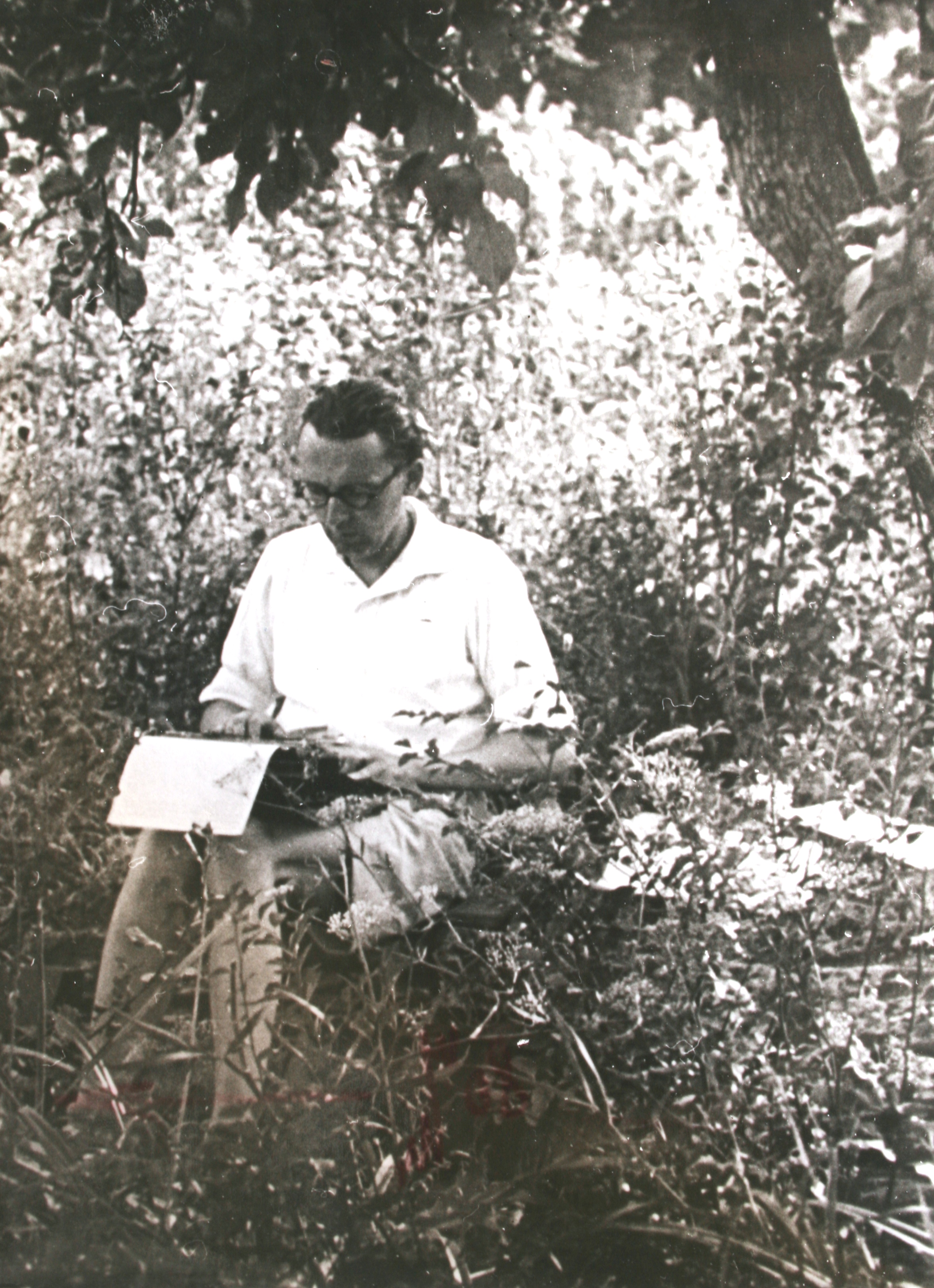 István Bibó typing in the garden of Leányfalu, second half of the 1940s