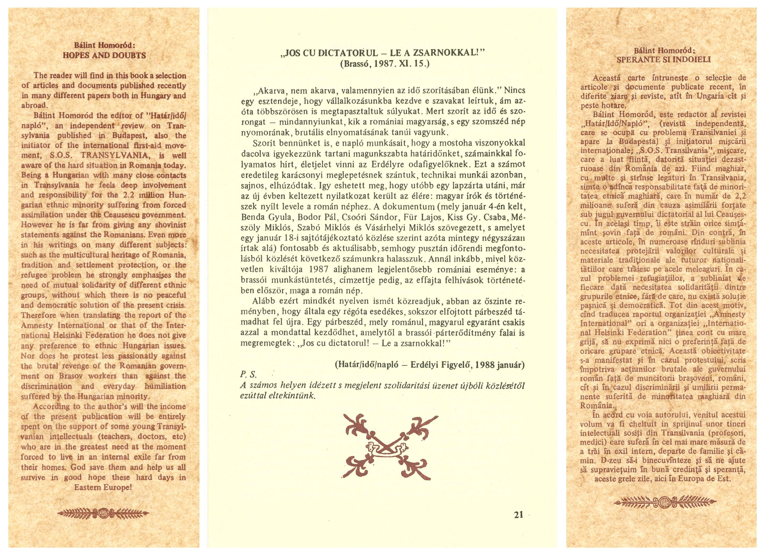One page of the book Hopes and Doubts with a call for solidarity with the Brassov workers revolted against Ceausescu's regime in mid-November 1987 together with the English (left side) and the Romanian (right side) summaries of the samizdat book.