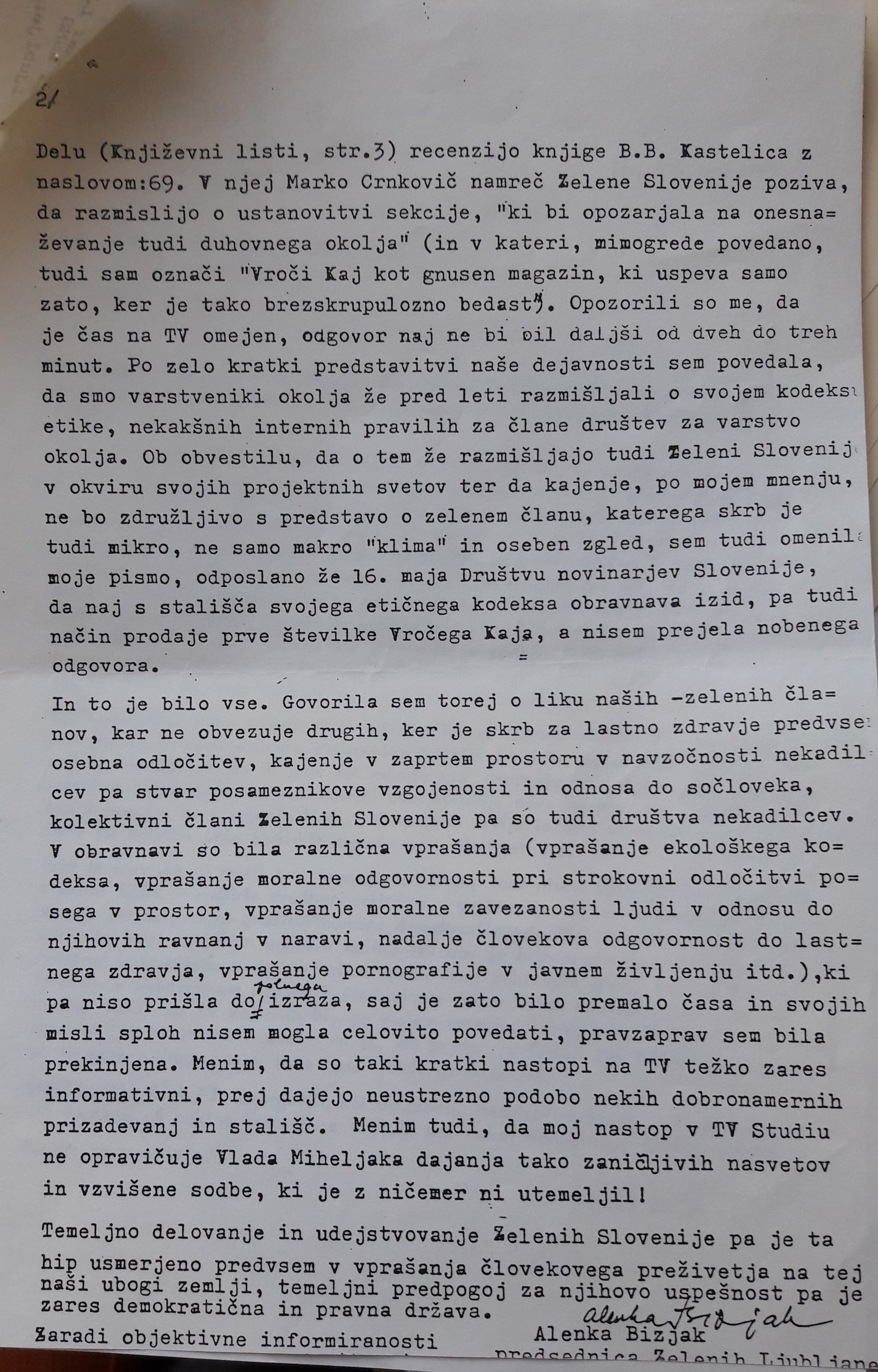 Letter from Alenka Bizjak to the editorial board of Mladina magazine. 11 November 1989.