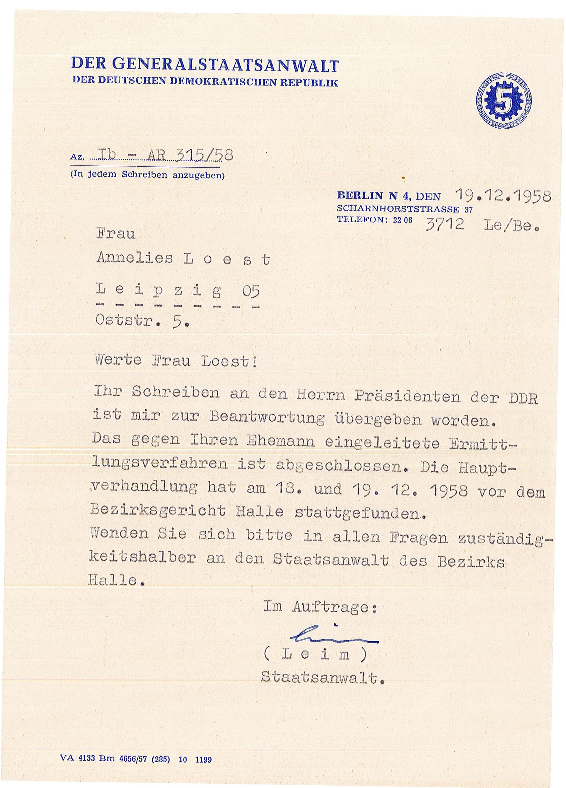 Brief des Generalstaatsanwalts an Annelies Loest (1958)