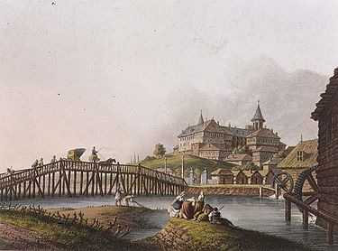Bridge over the river Dâmbovița leading to the Mihai Vodă Monastery and the new Royal Court (William Watts, after a drawing of 1793 by Luigi Mayer)