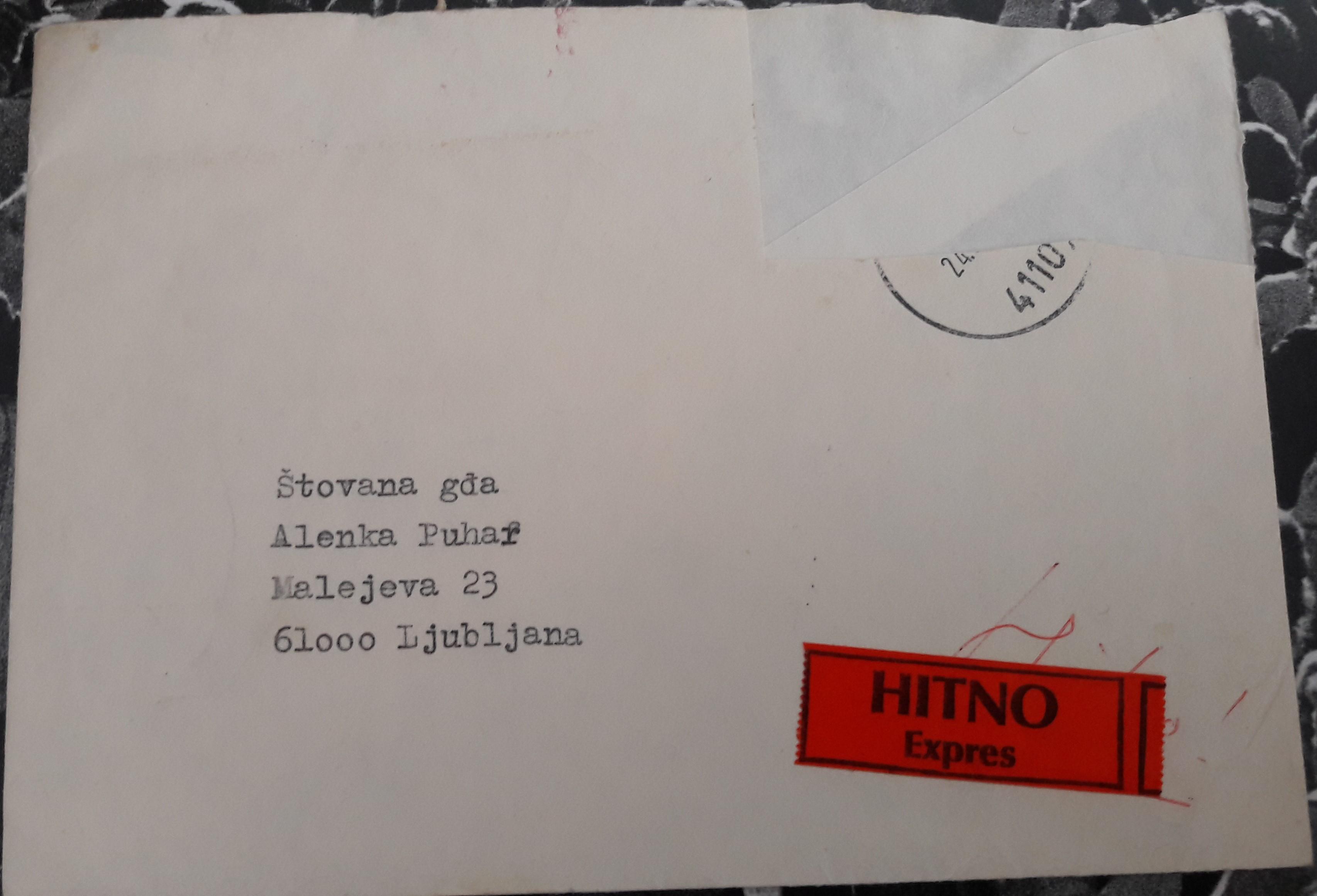 Letter from Dobroslav Paraga to Alenka Puhar.