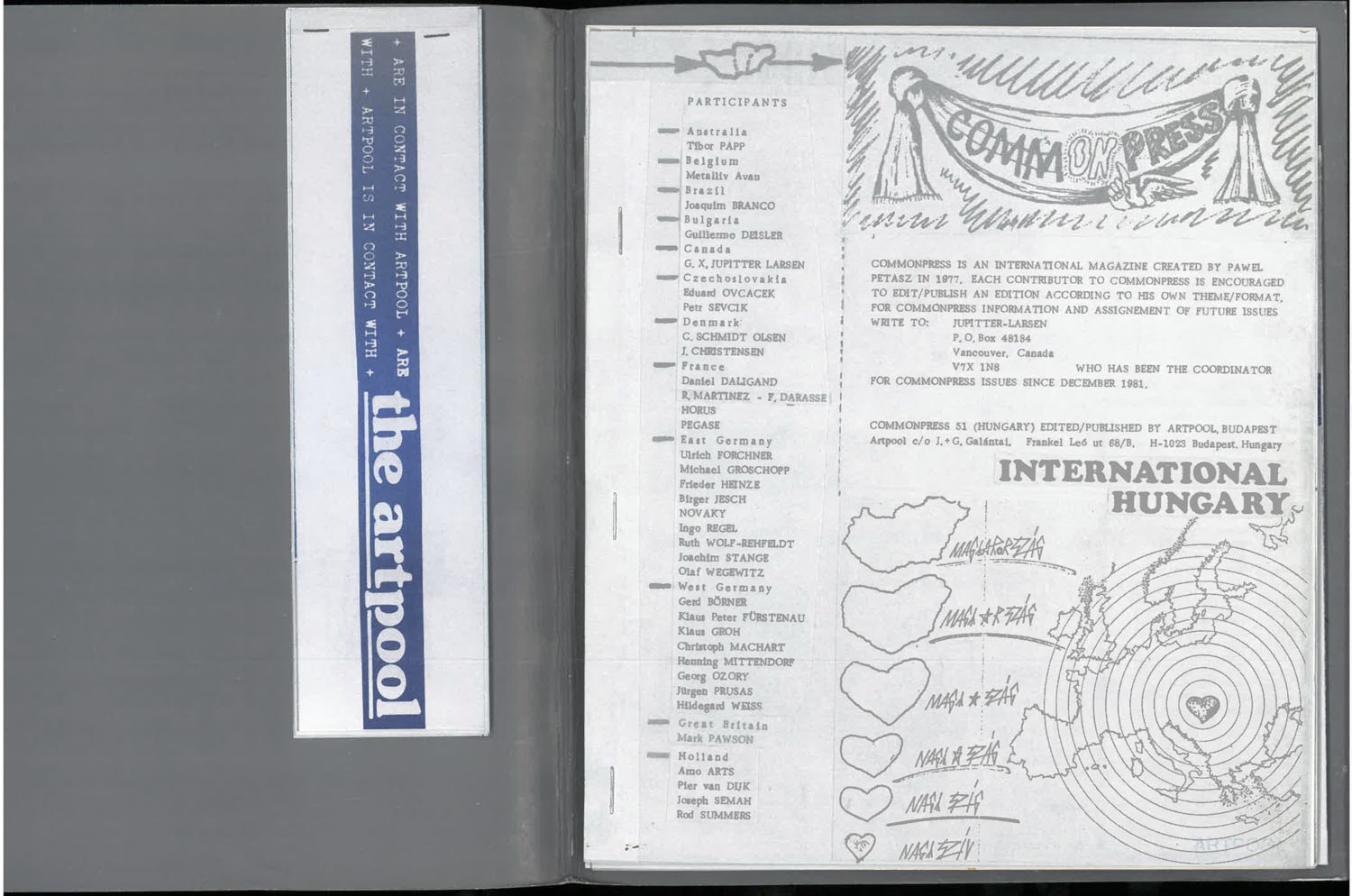 First page  of Commonpress 51 (Hungary issue), Artpool, 1984–1989 with the list of participants