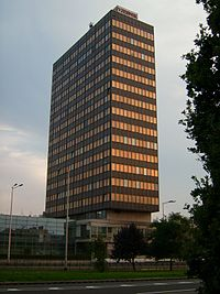 Vjesnik skyscraper, Zagreb, Slavonian Avenue No. 4, built in 1972. Vjesnik Newspaper Documentation there was located until 2007, whereupon was incorporated into the Croatian news agency HINA.
