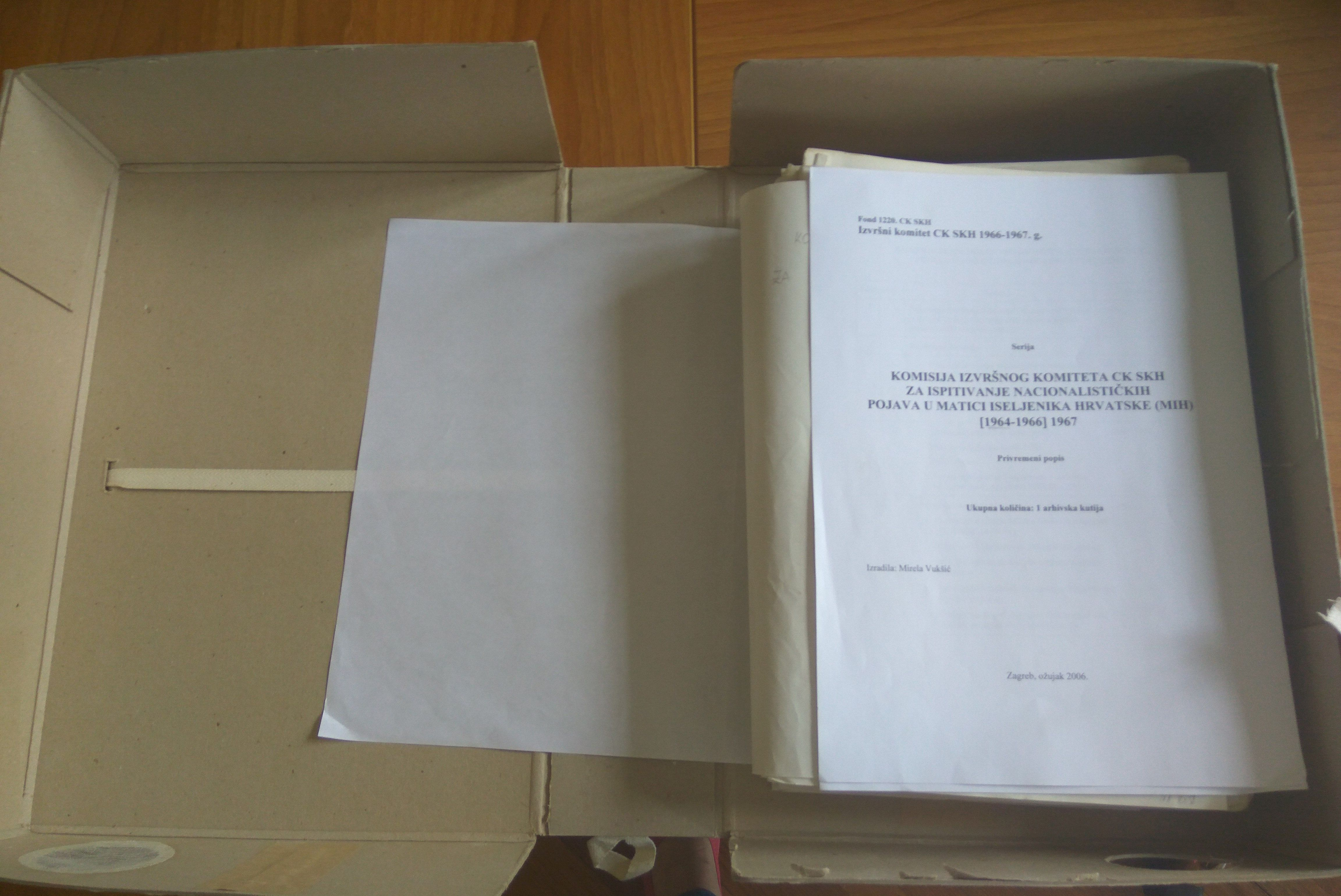 Box Nr. 1 of the Commission for the examination of nationalist phenomena in the Emigrant Foundation of Croatia (2017-05-23)