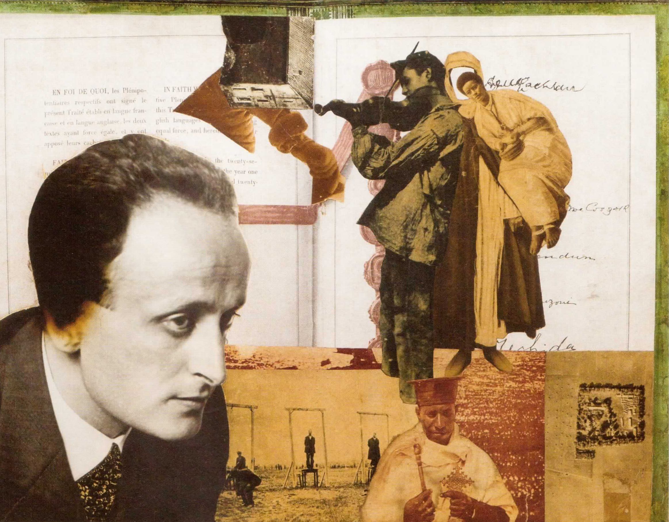 Lajos Vajda  (1908–1941): Montage with the Portrait of Lajos Szabó, 1930-33, pastel and photocollage on cardboard, 49.6 cm x 54.6 cm, private collection