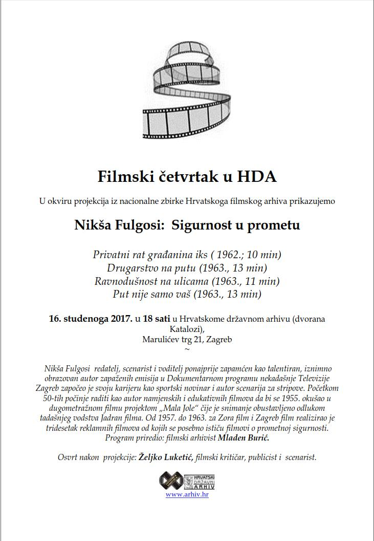 Poster of the Movie Thursday in Croatian State Archives dedicated to Nikša Fulgosi's film