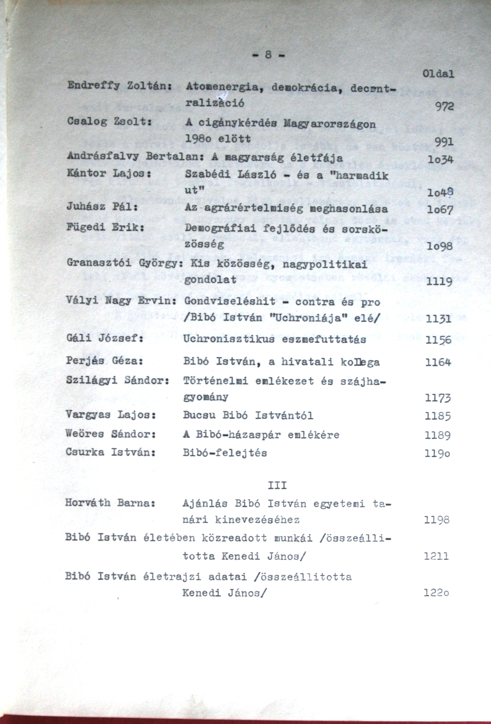 Bibó memorial book 1979. The original contents of the 3 volumes.