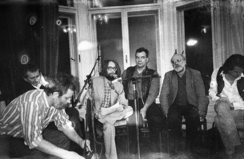 Participants of the discussion at the exhibition event Underground art in the Aczél era, Kossuth Club, Budapest, 1990 On the foto from the left: György Galántai, Péter Legéndy, Ádám Tábor, László Rajk, László Beke Jenő Balaskó