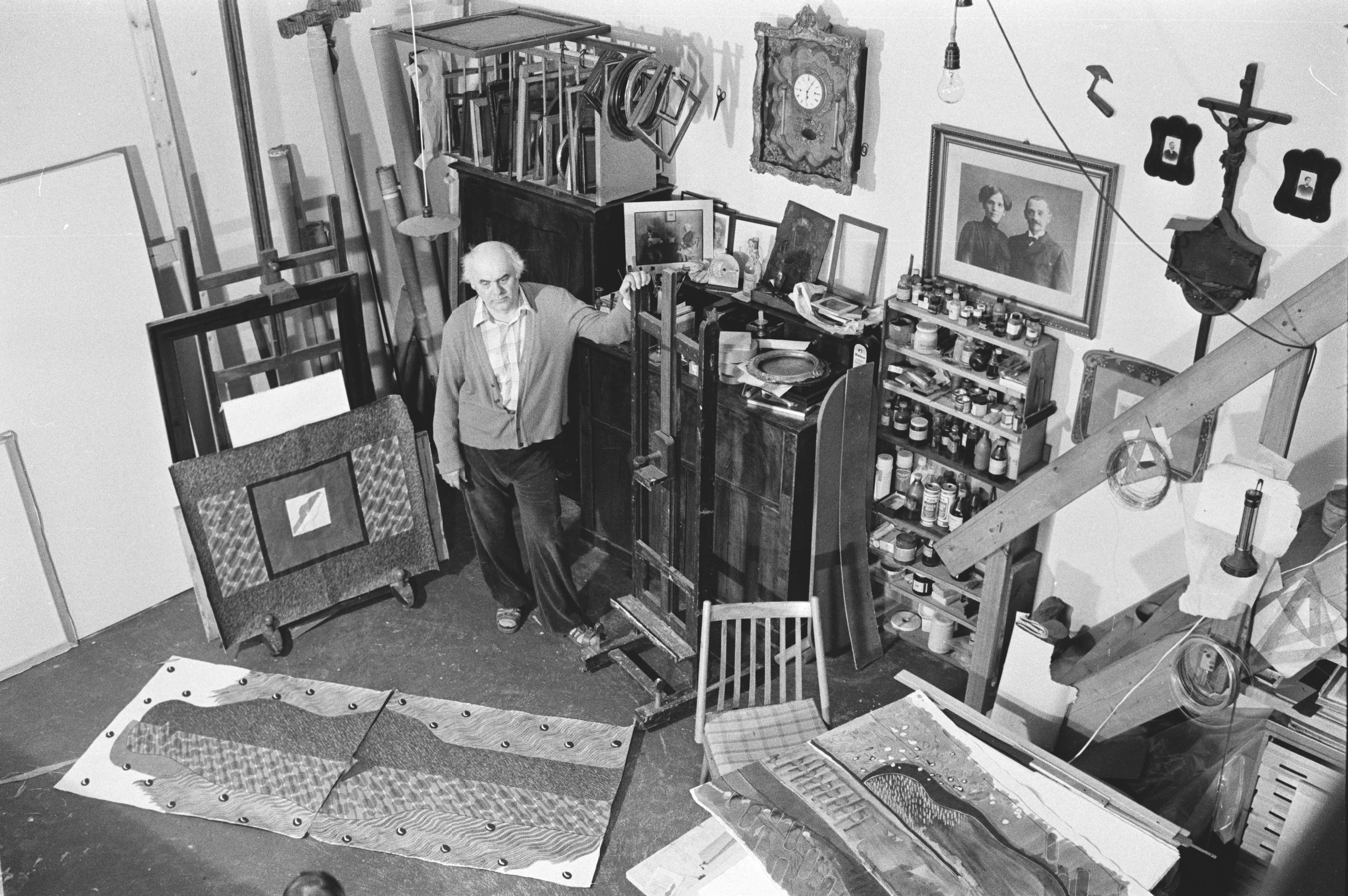 Deim Pál műtermében 1987-ben. Fotó: Deim Péter