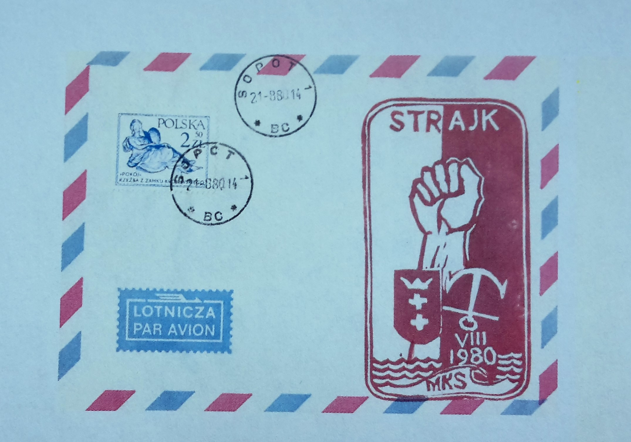 Envelope with a copy of the stamp created by Józef Figiela during the strikes in August 1980 in the Gdansk Shipyard.