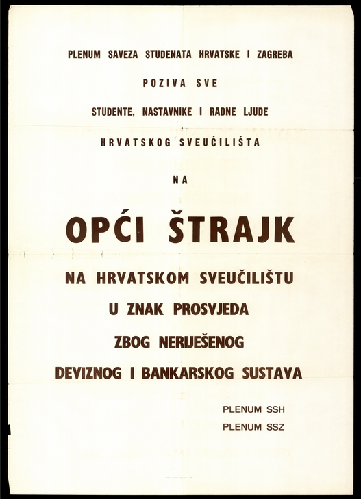 Student Association's Plenum calling on a general strike by students at the Croatian University (a.k.a. University of Zagreb), November 1971