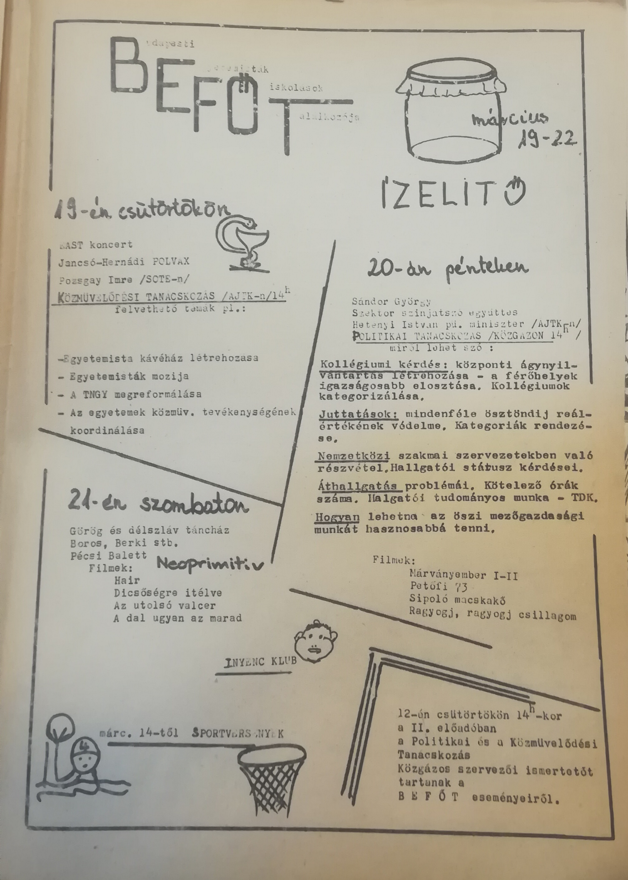 The program of the 'Befőt' in the 'Klub Közlöny'
