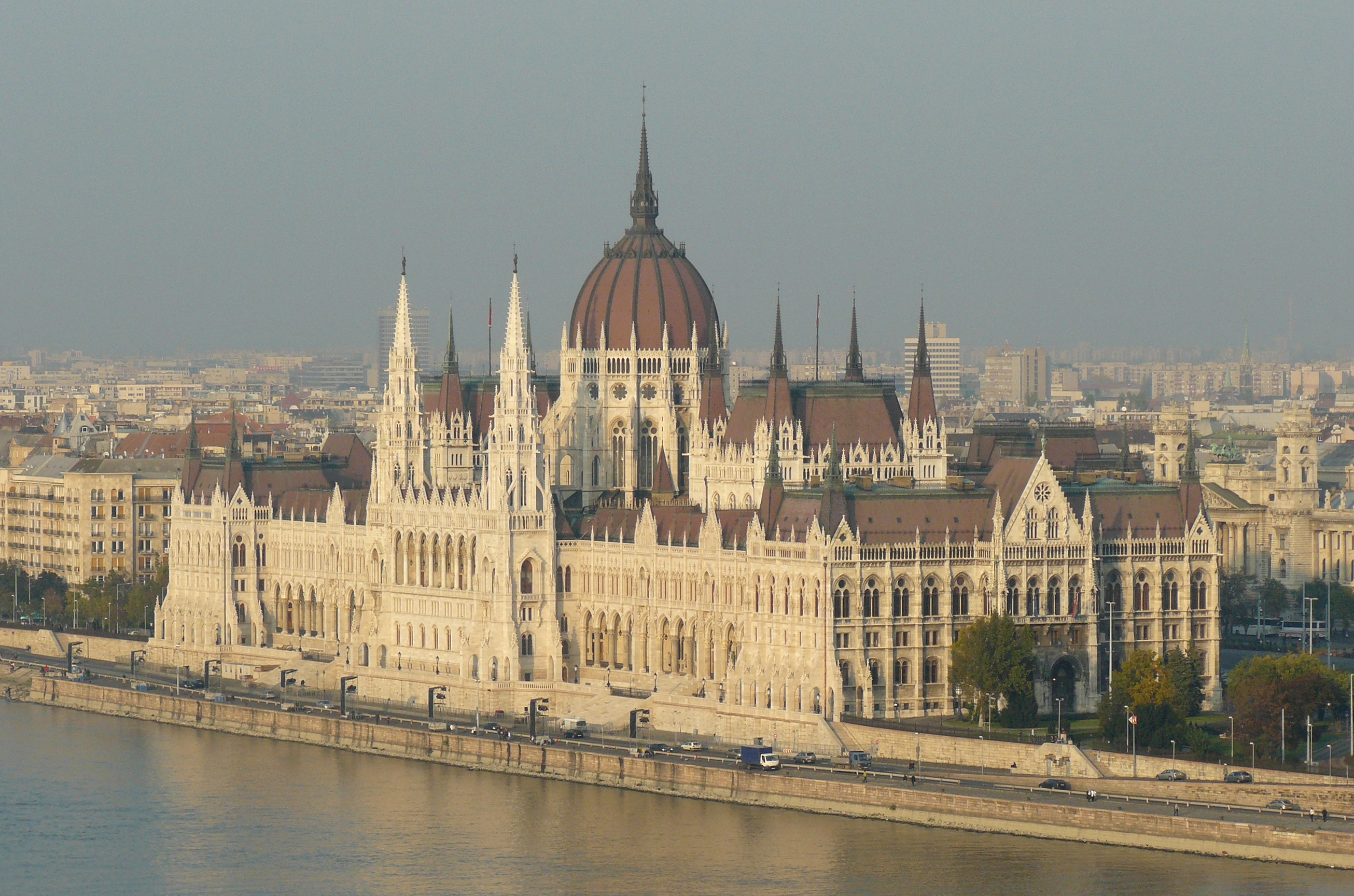 Building of the Hungarian Parliament, where is the Office of the Hungarian Prime Minister. View from Buda castle, 2009.