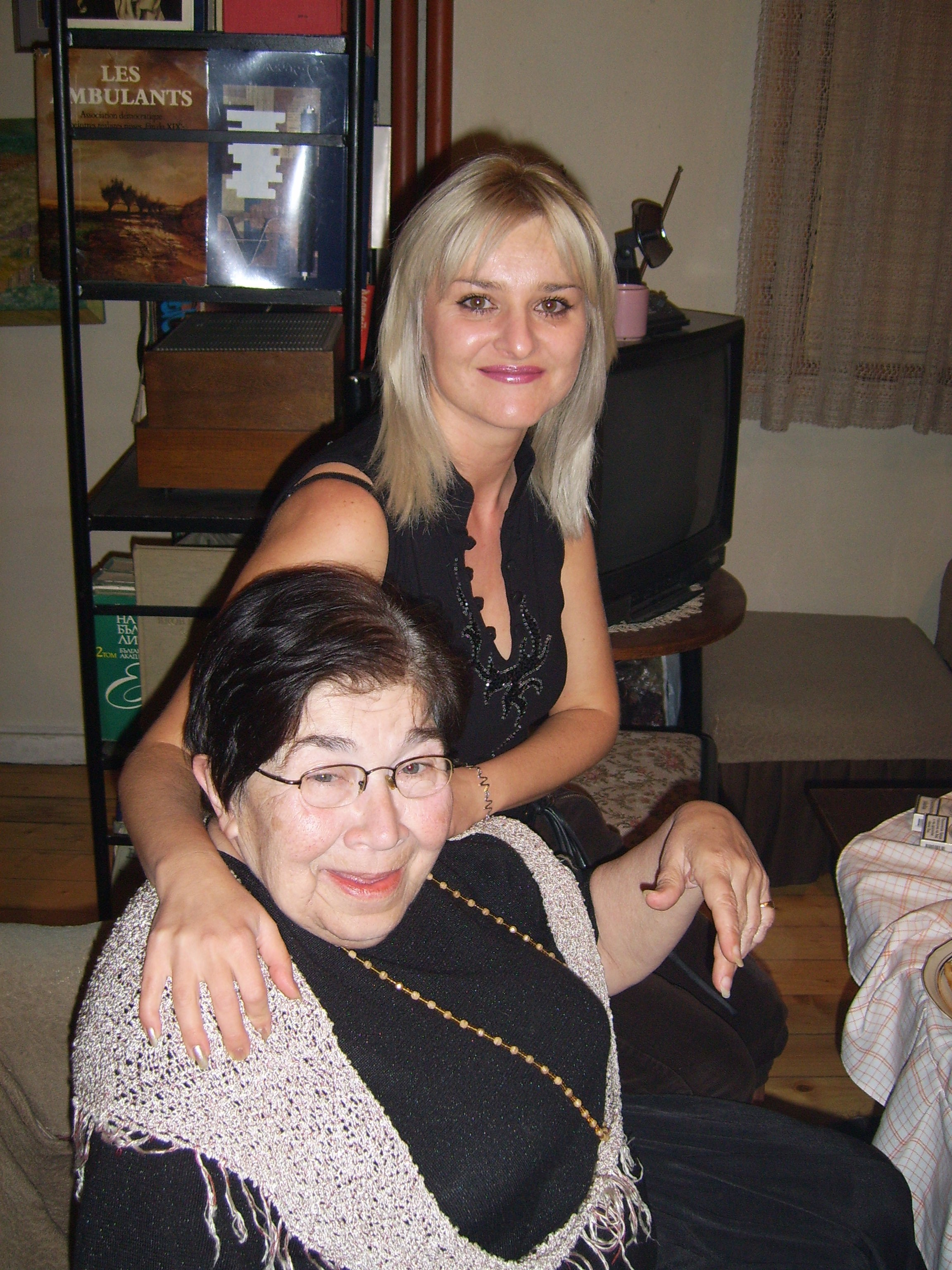 Sevdalina Panayotova with her student Shinka Taleva, who has played a number of major roles in the theatre spectacles of Sevdalina Panayotova - 'Little Prince', 'The Dream of Prospero' and others. Chepelare, 2007.