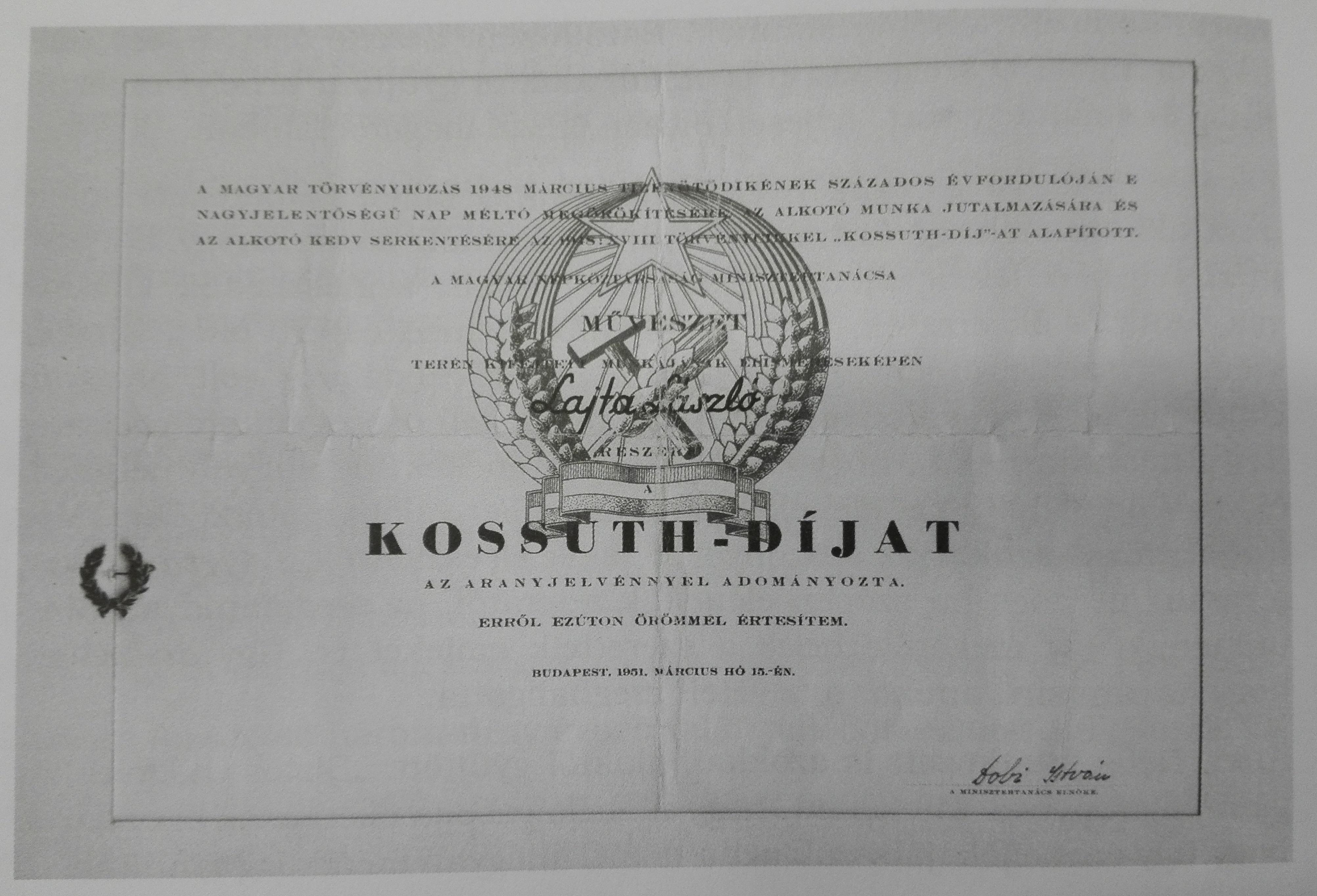 Kossuth Prize of Lajtha, László