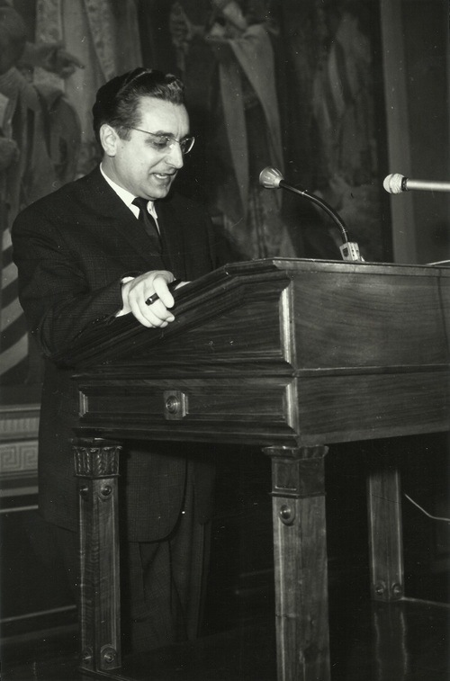 Tuđman holding a speech at the Institute of History of the Labor Movement of Croatia in the 1960s