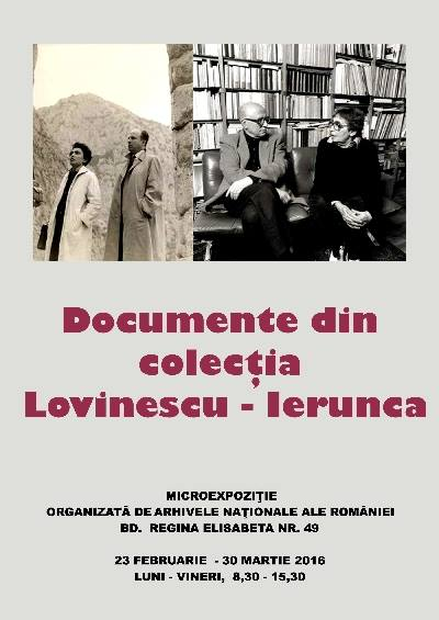 The poster announcing the opening of an exhibition with documents from Lovinescu−Ierunca Collection at National Central Archives in Bucharest