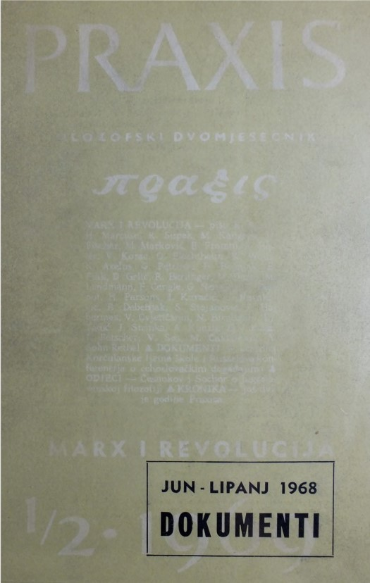 Cover page of the special edition of Praxis with documents related to 1968.