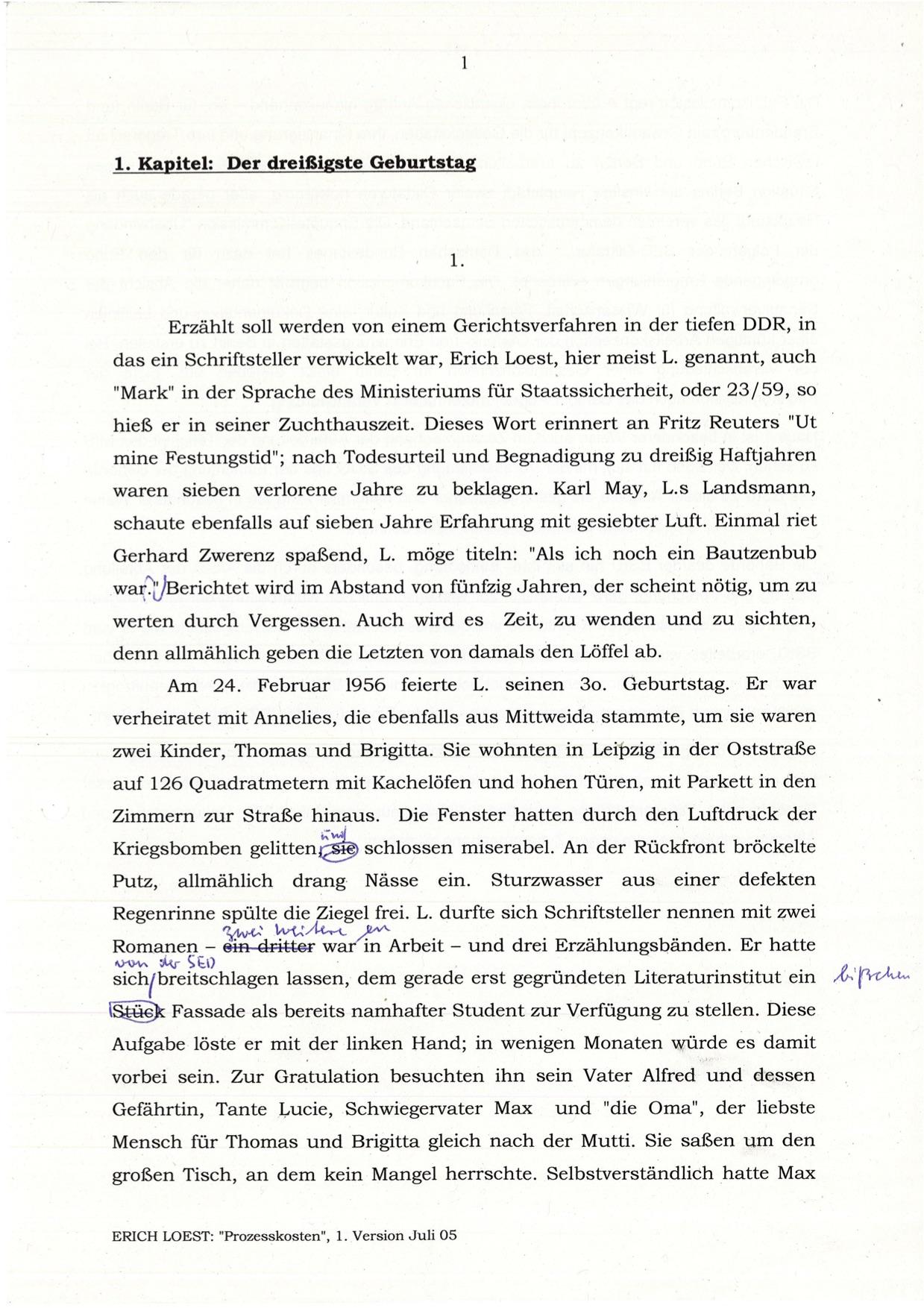 """Handschriftlich überarbeitete Typoskripte für Buch """"Prozesskosten"""", 2005"""