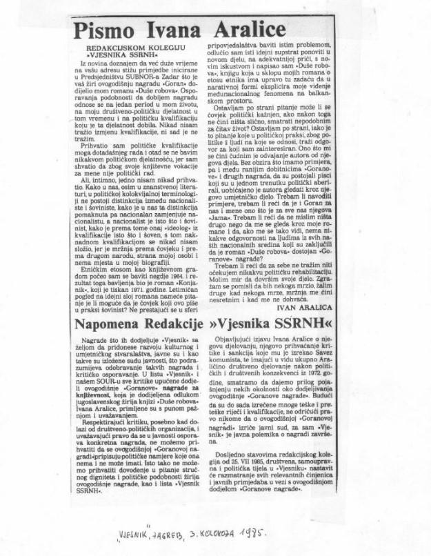 """Prvo očitovanje Ivana Aralice redakcijskom kolegiju Vjesnika o """"slučaju"""" nagrade Ivan Goran Kovačić i napadima na njega. (3. kolovoza 1985.)"""