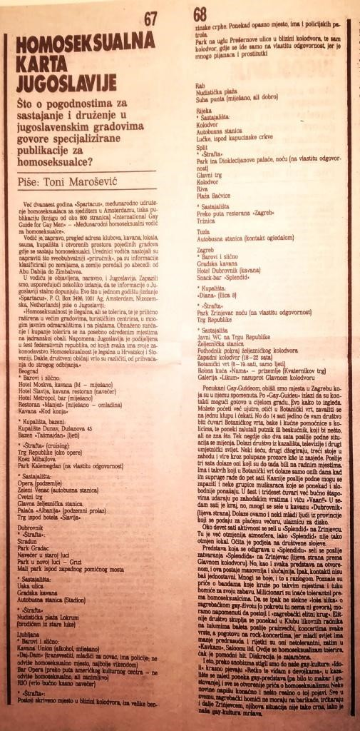 """""""Homoseksualna karta Jugoslavije"""" [The Homosexual Map of Yugoslavia], an article by Toni Marošević on gay cursing and meeting sites in the 1980s, magazine Start, spring 1986 (copy from T. Marošević's Bequest)."""