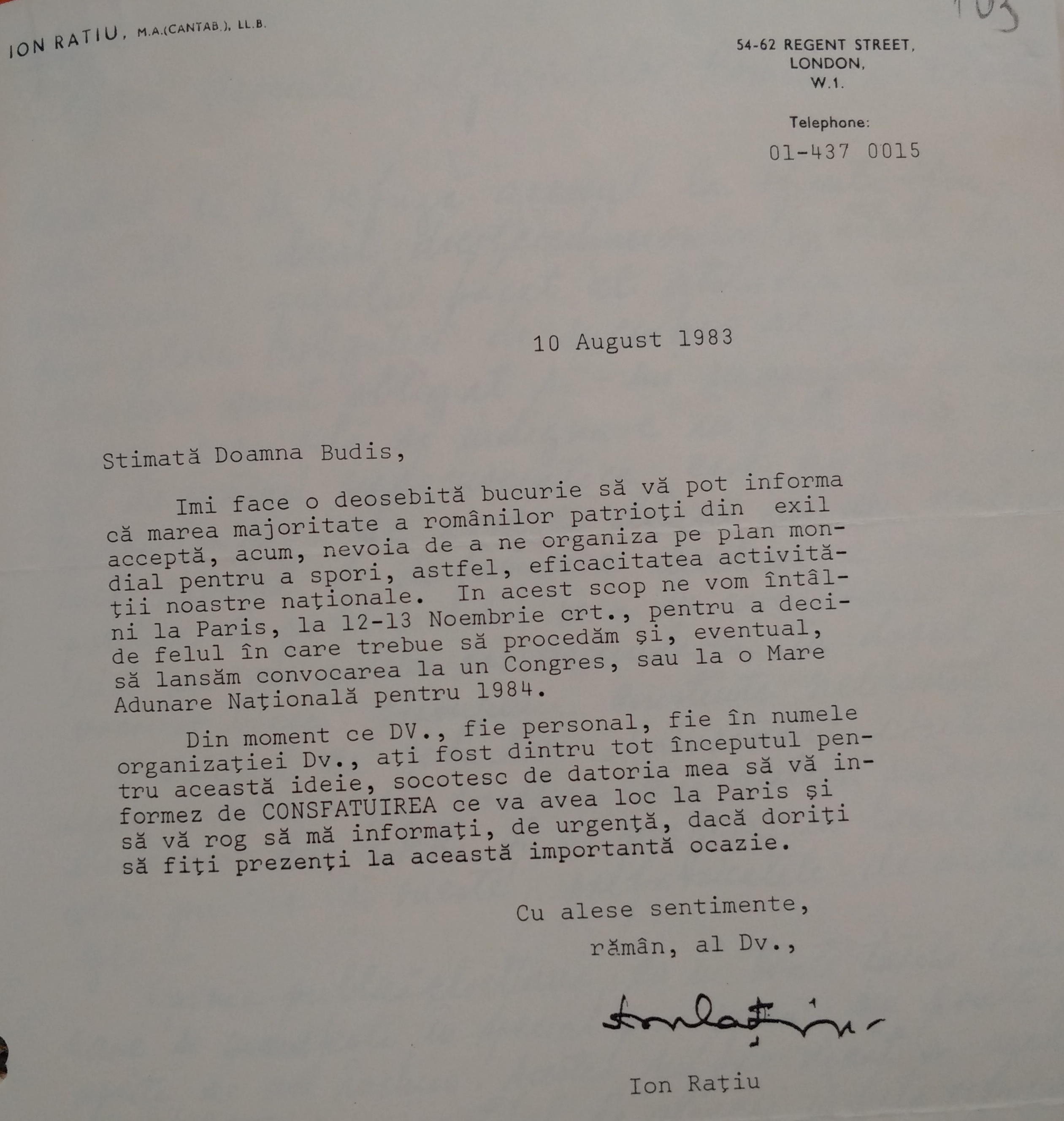 Invitation from Ion Rațiu to Sanda Budiș for the First Free Romanians Congress, 10 August 1983