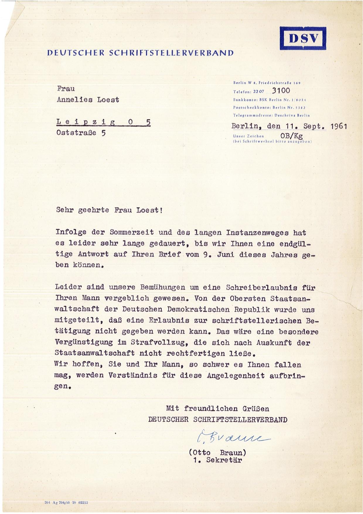 Briefe des Deutschen Schriftstellerverbands (1961) und des Generalstaatsanwalts (1958) an Annelies Loest
