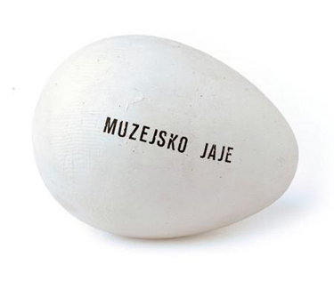 Museum egg, first prototype in 1970, wooden model of an egg, acrylic, letraset