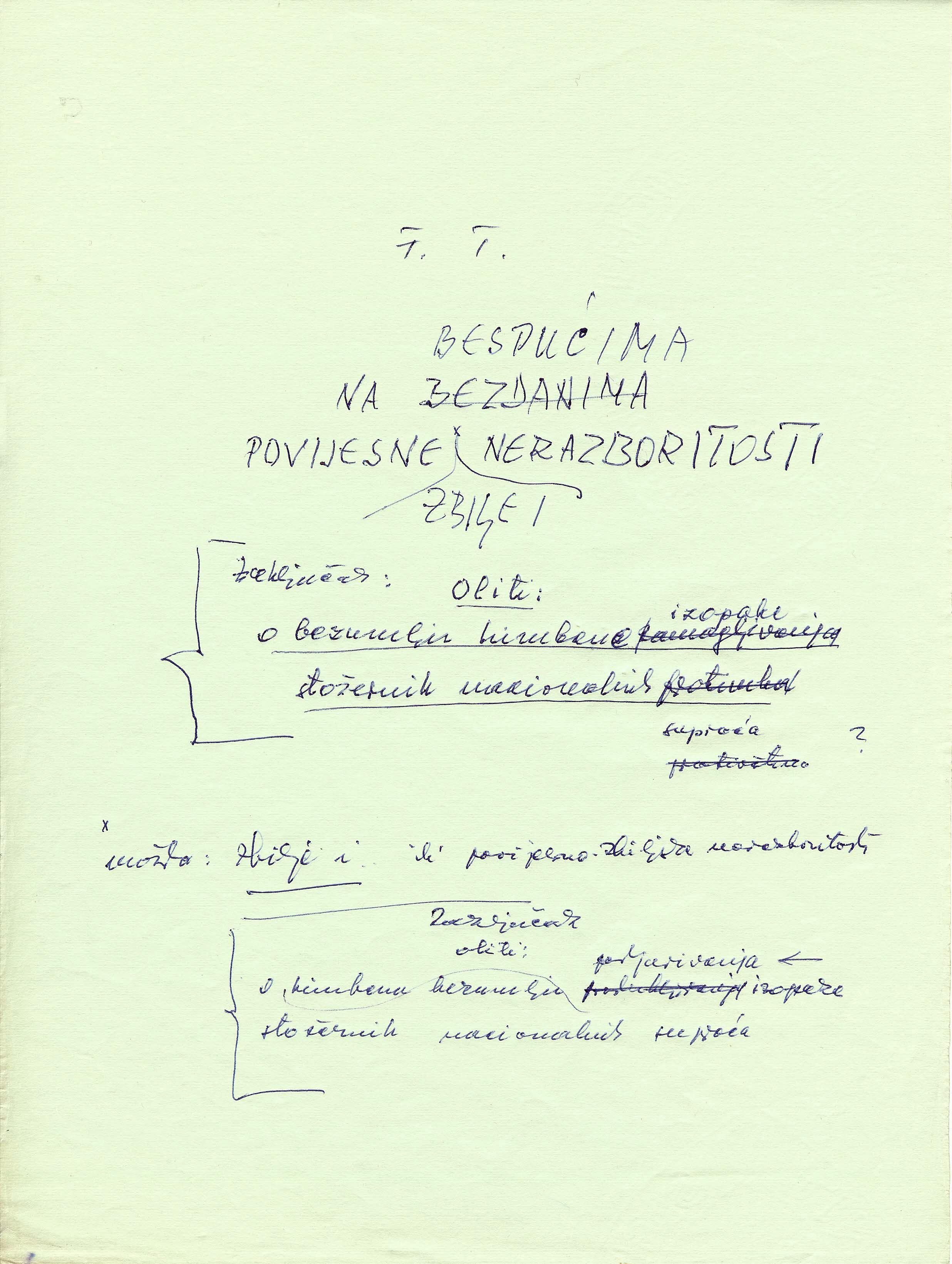 Draft of the title page of the Franjo Tuđman's book Horrors of War: Historical Reality and Philosophy, 1988.