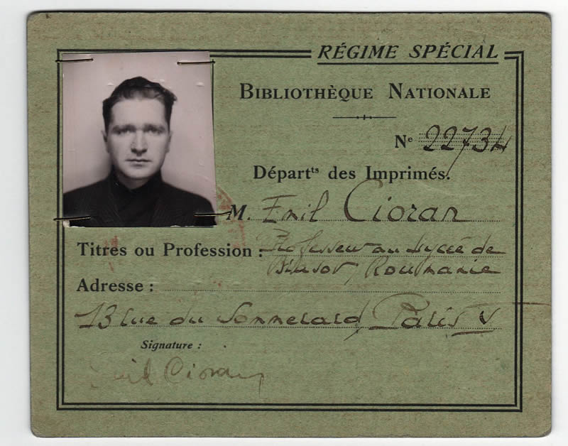 Emil Cioran's National Library of France Card was exposed during the exhibition The Correspondence of Emil Cioran within the Collections of the ASTRA Sibiu County Library