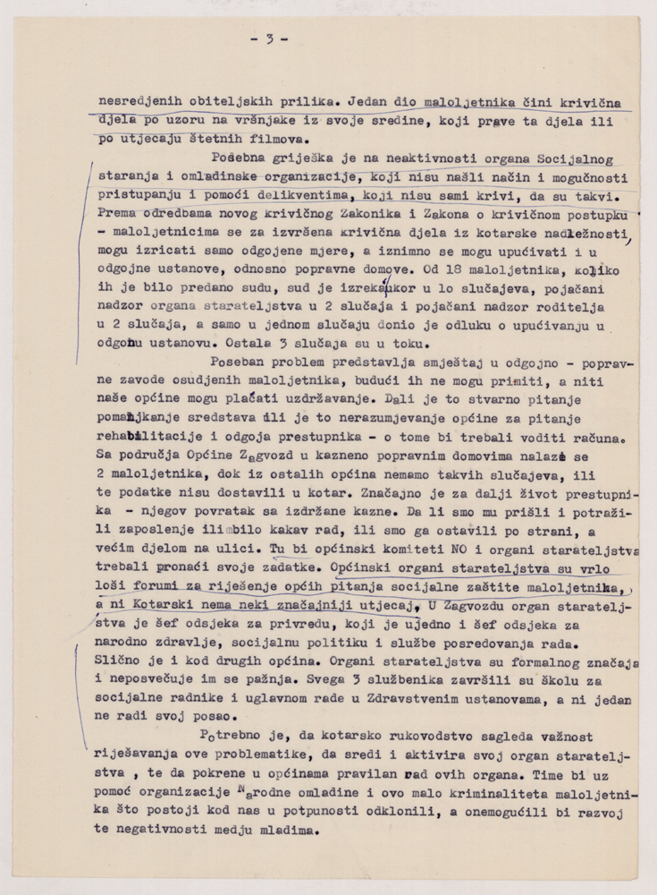 The document analyses juvenile delinquency and the so-called antisocialist occurrences by the youth in the area of Makarska