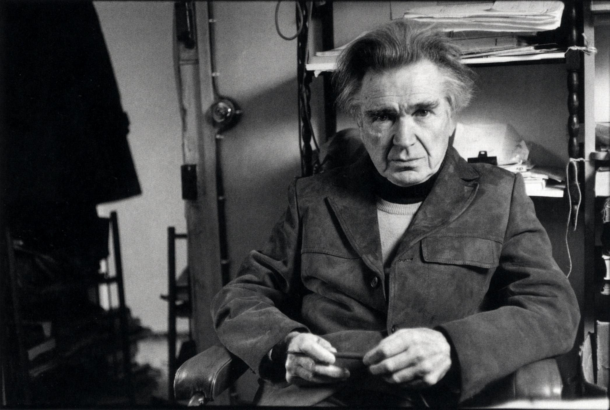 Emil Cioran in his study in Paris during 1980s