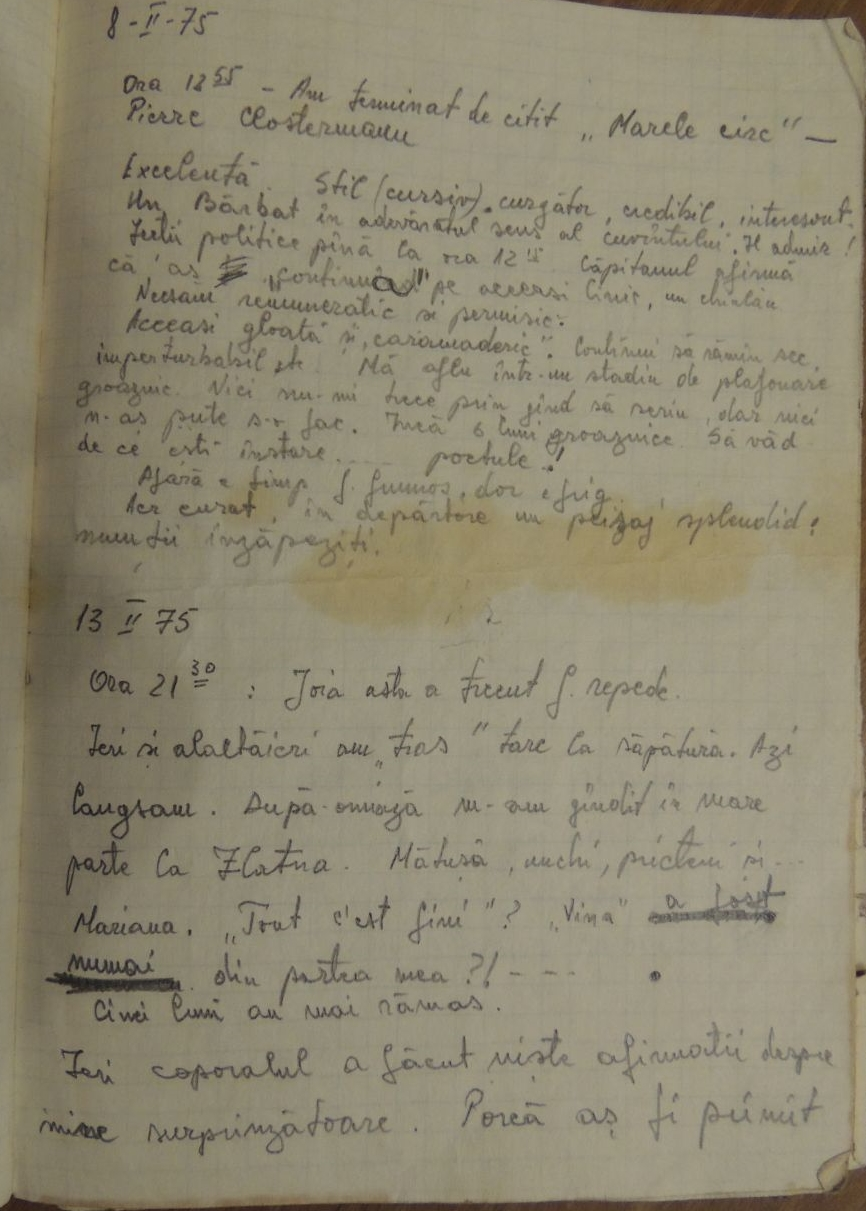 Page from Ion Monoran's army diary