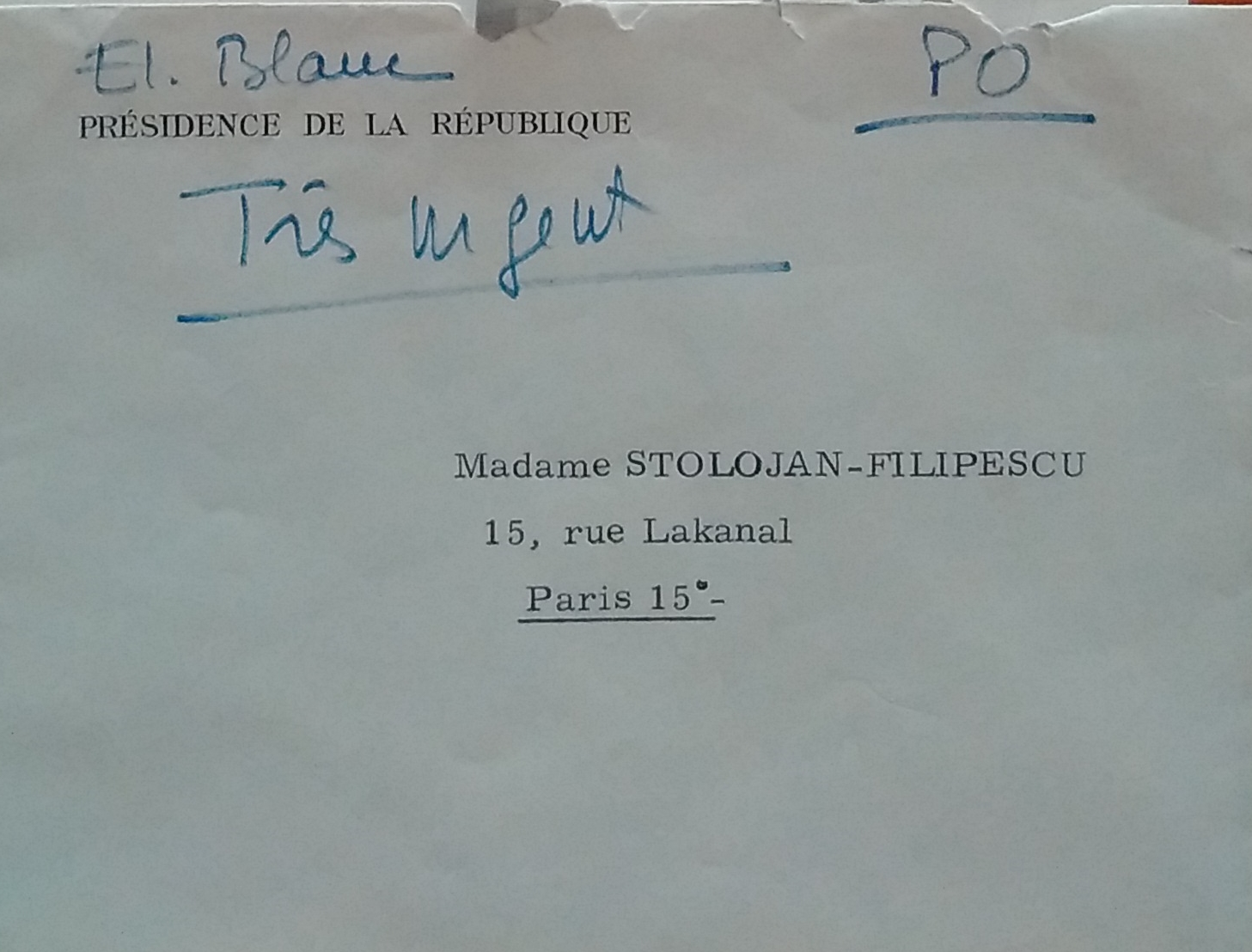 Envelope letter from the Cabinet of the French Foreign Minister to Sanda Stolojan, 9 May 1968