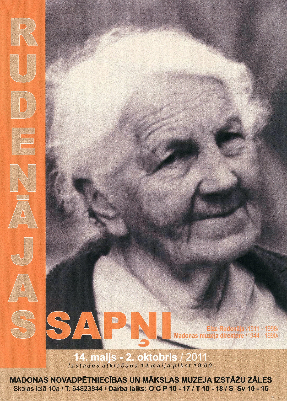 Poster of the exhibition 'Elza Rudenāja - 100'.