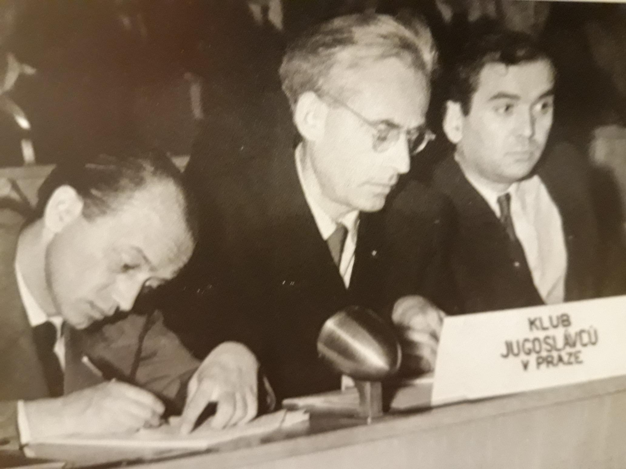 This illustration shows representatives of the Yugoslav Cominformist emigrant group in Czechoslovakia – Slobodan Ivanović, Teodor Balk and Milutin Rajković – at the Prague meeting of the Congress of Peace Defenders in April 1949.