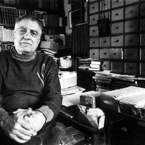 Adrian Marino in his study in the 1980s