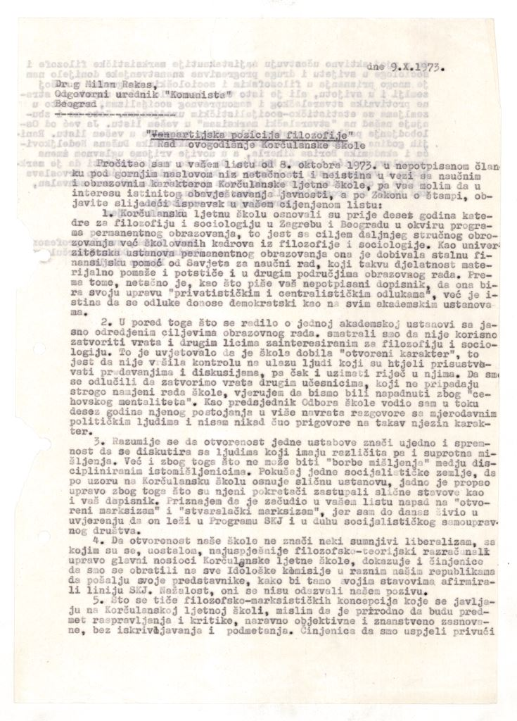 The first page of the letter from Rudi Supek to Komunist journal editor-in-chief Milan Rakas, 9 October 1973.