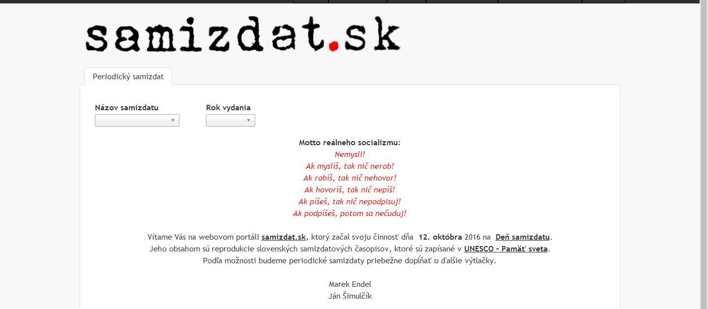 The Website Brings Together Reproductions Of And Information About Slovak Samizdat Journals In Period From 1982 To 1989 That Are Registered