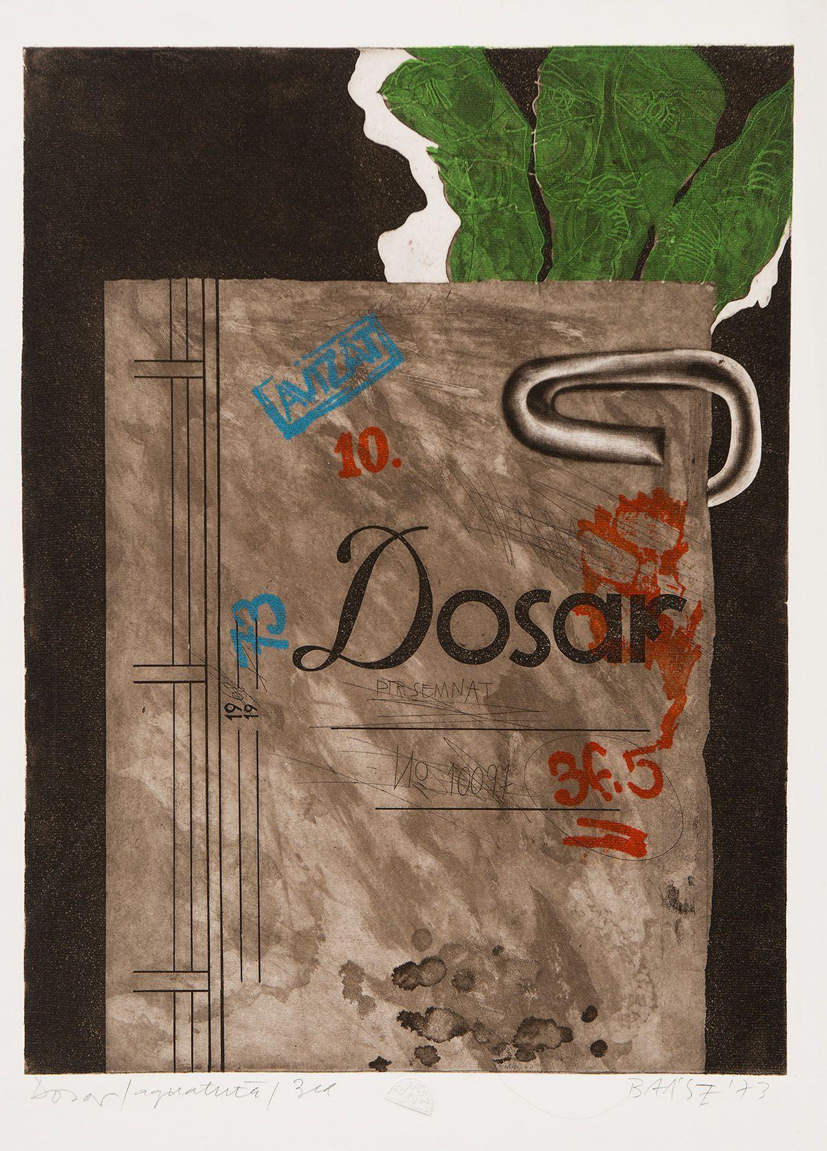 Imre Baász: File, acvatintă, 45.1x34 cm, 1973