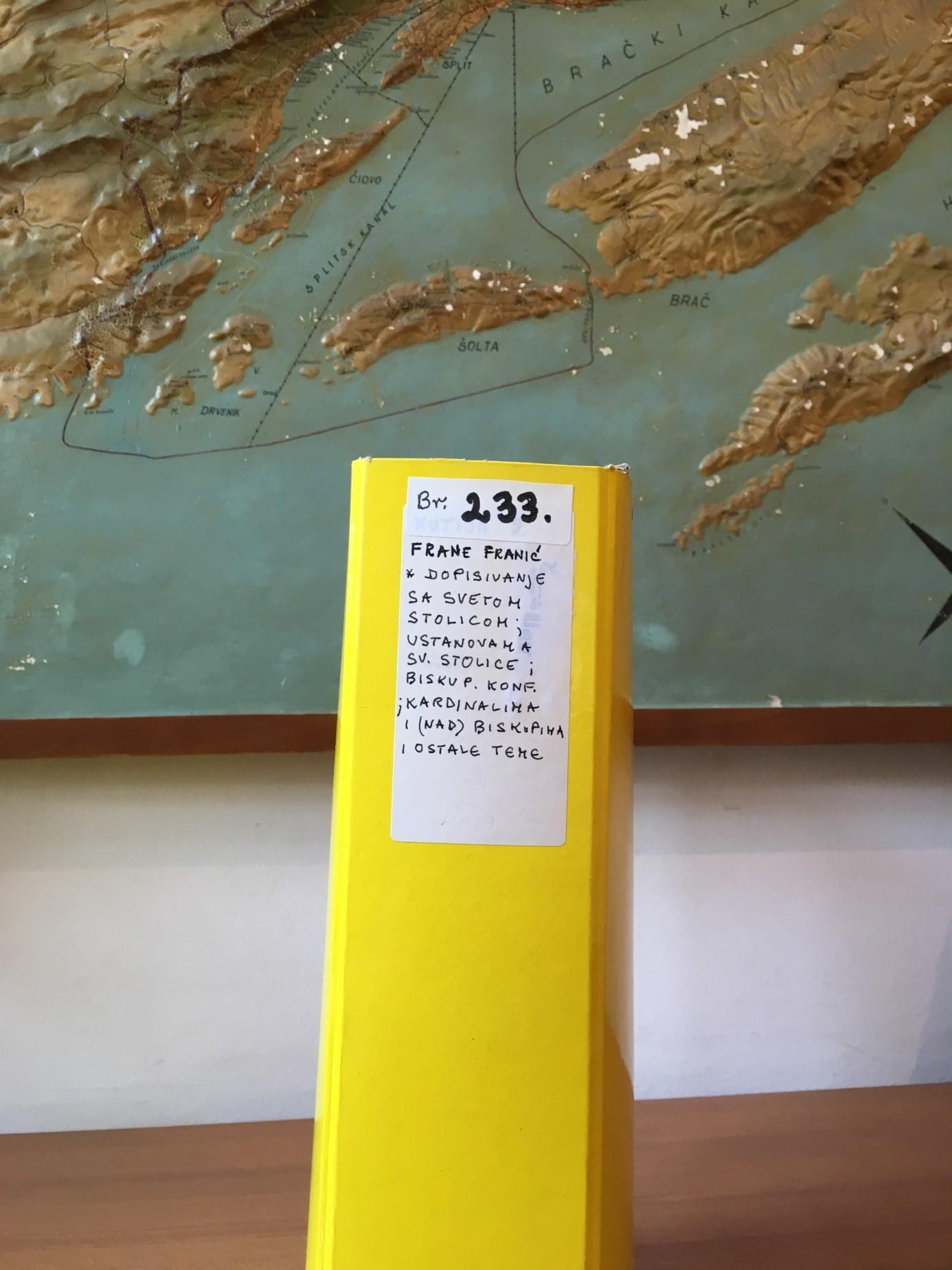 Kutija u kojoj se nalazi gradivo inventarnog broja 233 iz osobnog fonda Frane Franića