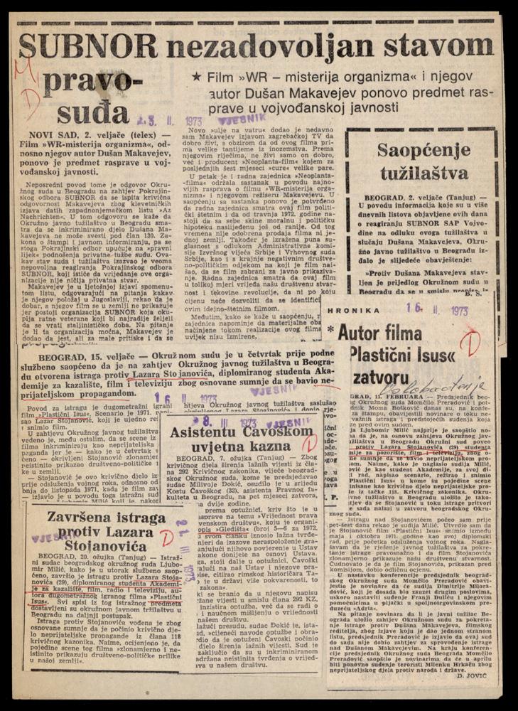 Newspaper reports on court proceedings for the offences of enemy propaganda, defamatory statements and dissemination of false news, Vjesnik and Oslobođenje, 1973.