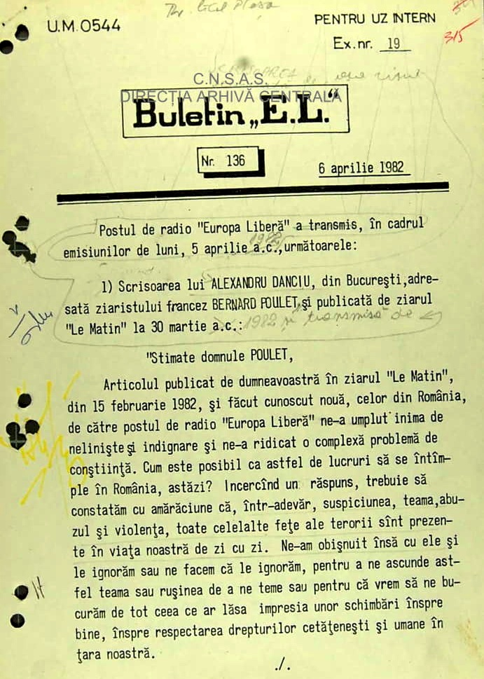 "Transcription of the letter from Nicolae Gheorghe (alias ""Alexandru Danciu"") to Le Matin, 30 March 1982 broadcasted by Radio Free Europe"